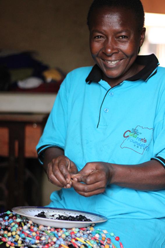 Sarah paper bead maker Kampala